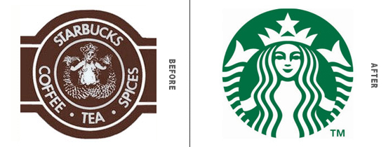 StarBucks Logo Before and After Comparison