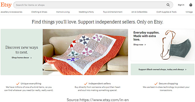 Etsy Website Screenshot
