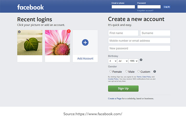 Facebook Website Screenshot