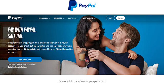 Paypal Website Screenshot
